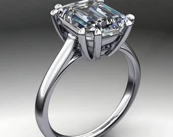 ciara ring – 3.5 carat emerald cut NEO moissanite engagement ring, cathedral ring