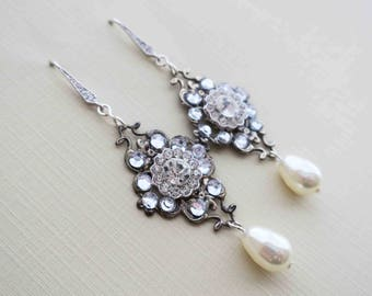 Old Hollywood Style Vintage Art Deco Bridal Crystal Swarovski White Ivory Pear Pearl Antique Wedding Earrings Downtown Abbey Chandelier
