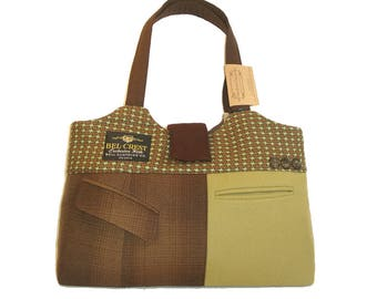 Large carry-all / market bag of recycled suit coats - Oscar No.1117