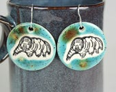 Water Bear Ceramic Earrings in Turquoise and Brown