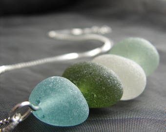 Sea Stack beach glass necklace / sea glass necklace / aqua marine sea glass jewelry / ocean colours jewelry / artisan cairn necklace