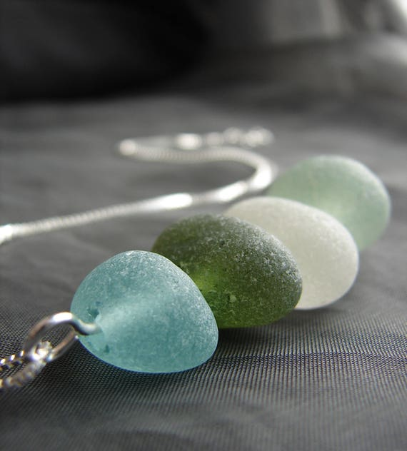 Sea Stack sea glass necklace in aqua, green, teal and white