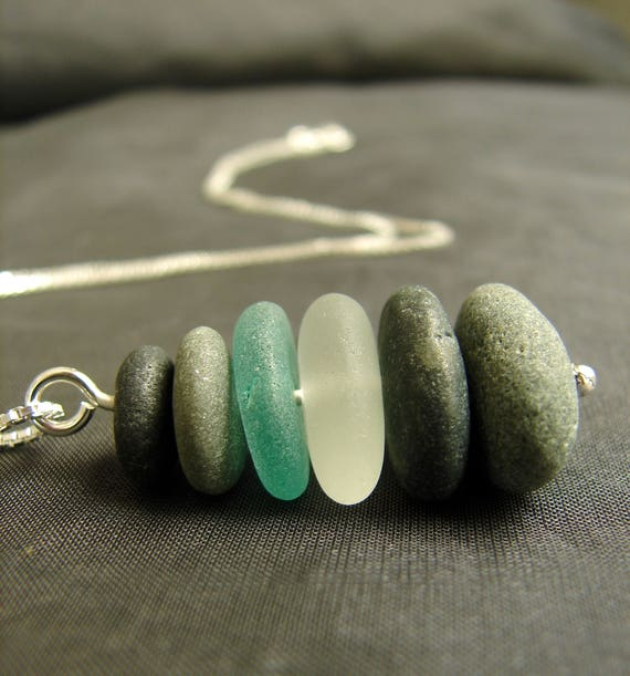 Sea Stack beach pebble and sea glass necklace in shades teal and white