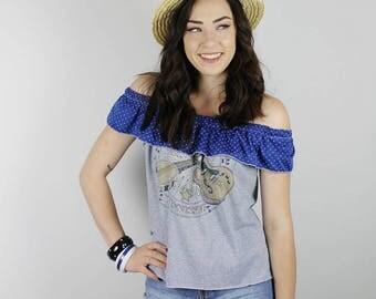 Off Shoulder NASHVILLE Top. Off Shoulder Tennessee Shirt. Vintage Nashville shirt. Vintage blue top. Vintage upcycled  shirt