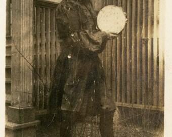 vintage photo 1914 Young Girl Tambourine Gypsy Costume