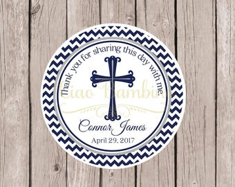 Baptism Favor Tags or Stickers for Communion, Confirmation, Christening / Religious Cross Tags or Stickers in Navy Blue & Gray / Set of 12