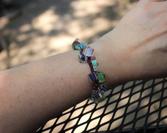 Glass Bracelet, Cane Glass, Furnace Glass, Pink, Wire Bracelet, Twist Bracelet, Glass Jewelry, Multicolored, Multicolor, Festive Bracelets