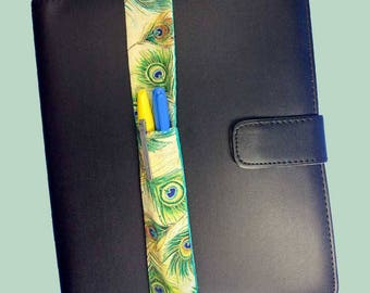 Peacock Feather Theme Pretty Pen Pocket Planner Band Pen Holder