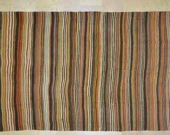 Kilim Rug 5.5' x 12' Brown Multicolor Pale Stripe Wool Vintage