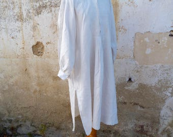 Vintage Antique Edwardian 1900s French pure  linen peasant /farmer chore men shirt /handmade / size S/M/L