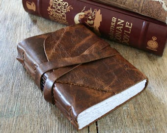 "Leather Journal . Walt Whitman quote - ""These are the days that must happen to you"" . handmade handbound . dark distressed brown (320 pgs)"