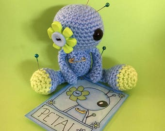 Petal the Amigurumi Blue Flower Voodoo Doll