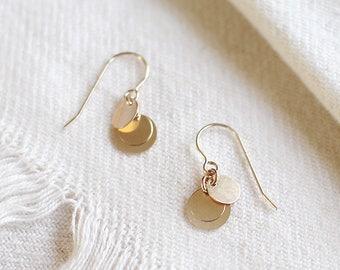 """14k gold filled disc earrings - classic earrings - gold coin dangle earrings - gold circle earrings - dainty gift for her - """"dolce"""" earrings"""