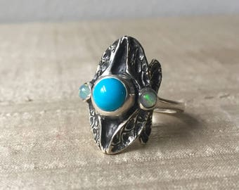 Sleeping Beauty Turquoise and Opals in Sterling- Three Stone Dragonfly Ring