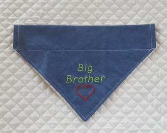 Big Brother Dog Bandana, Baby Announcement, CLEARANCE PRICE, Over Collar, Bandana, Denim, Pet Accessories,Dog Scarf, Dogs, Pets, New Baby