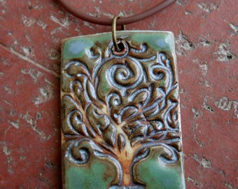 Satin Green Tree of Life Porcelain Pendant