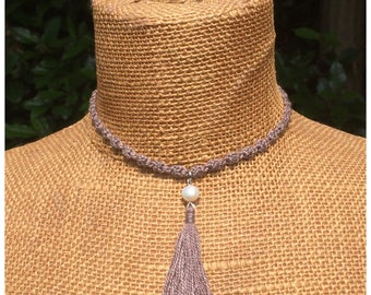 Pearl choker, crochet beaded necklace, silk tassel choker, boho jewelry, natural silk choker, hippie chic, ibiza style