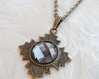 75% Off Sale Gray, Faceted Glass Necklace