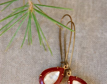 Vintage glass teardrop earrings,teardrop dangle earrings,carnelian earrings,rhinestone drop earrings,holiday earrings,elegant earrings