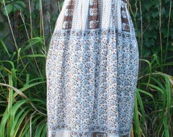 Blue and brown India sun dress hippie maxi India cotton Small boho sundress