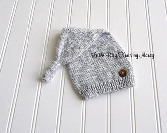 Long Tail Knot Hat, Newborn Hat, Baby Hat, Hat with Button, Newborn Photo Prop, Buy 2 get 1 FREE