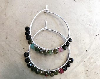 Tourmaline Earrings Multi Color Gemstone Boho Chic Silver Hoops