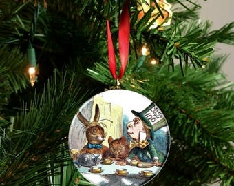 "Classic Alice in Wonderland Mad Hatter Tea Party 2.25"" Ornament"