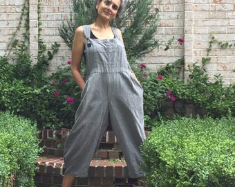 Gray Cube Pleated Baggy Bib Overalls for Women - One Size - Loose Overall Romper Jumpsuit, pleated and gathered, cotton bibs, tailored bibs