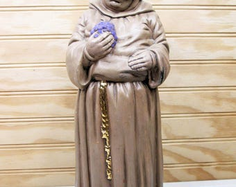 "Vintage Ceramic Christian Monk Figurine 12"" Holding Grapes Religious Smiling Friar 70s"