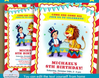 Circus Ringmaster invitation - carnival birthday party printable invite blonde boy and lion - INSTANT DOWNLOAD #P-10-BOY  with editable text