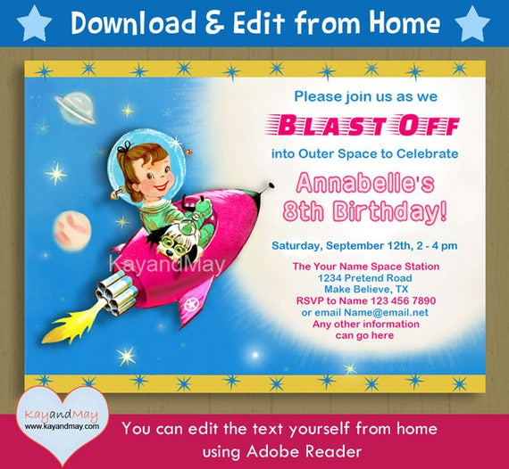 Space birthday invitation brunette girl and dog astronaut – Rocket Ship Birthday Invitations