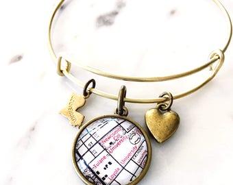 Tulane Map Bracelet - Tulane Bracelet - Tulane Jewelry - Charm Bracelet - Tulane University - NOLA bracelet - New Orleans Bracelet