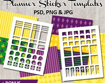 Commercial use Mardi Gras templates for planner stickers / Blank template Erin Condren Life Planner / Digital download