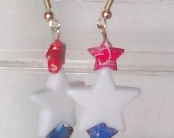 Patriotic Star Bead Earrings