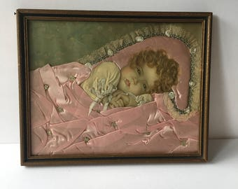 Antique Assemblage Art Annie Benson Muller 'Heavens Gift' Lithograph with Silk Blanket Tatting Real Hair