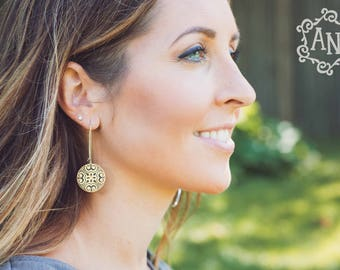 Full Moon Mandala Earrings, Mandala Jewelry, Patterned, Mixed Metal, Sacred Geometry, Sterling Silver, Brass, Gifts for Her
