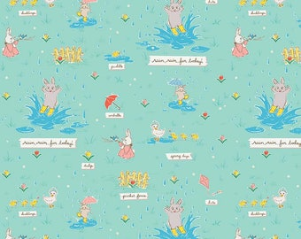 Teal Bunnies Puddles - Bunnies & Blossoms collection by Lauren Nash for Penny Rose Fabrics - 100% cotton quilting fabric by the yard