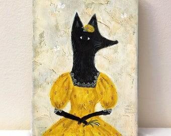 The Duchess of Black Fox - Original art - Folk art - Wall art
