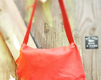 Artisan Made Purse in Colored deerskin Softest Leather Handbag Hobo Style lovebug mouth lips Leather red lipstick