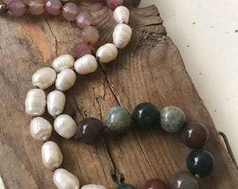 "Mauve and Green ""Lycka"" Necklace Pearl Jade Jasper Gifts Under 100 Boho Chic Bohemian Statement Jewelry Silk Necklace Fall OOAK"