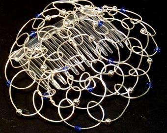Bar Mitzvah Kippah Womans Kippah Kippot Yarmulke Women Chapel Cap - Silver Wire Silver Rounds Blue Swarovski Crystals