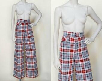 Vintage High Waist Pants --- 1970s Plaid Trousers