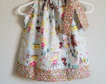 Pillowcase Dress Goldilocks and the Three Bears Blue Riley Blake toddler dress girls dresses Summer Dresses Flowers & Mushrooms Fairy Tales