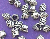 10 Big Hole Tube Beads, Asymmetrical Leaf Pattern, Antiqued Silver Tone, About 5mm x 6mm, with a 4mm Hole - TS260B