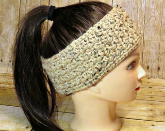 Button Two Way Ear Warmer Headband with Vintage Button