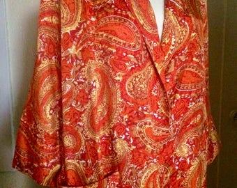 Vintage 40's Paisley Rayon Robe, Long, Size Large
