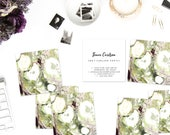 Chartreuse Green and Aubergine Marble Calling Cards | Business Cards | Blogger Cards | Set (50)