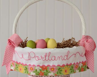 PRE-ORDER 2019 Personalized Easter Basket, Monogrammed Liner, fits Pottery Barn Kids Baskets, Hand Embroidery Custom Green Floral