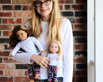 Size 12 Matching Girl Doll Clothes fits American Girl Doll OR Wellie Wisher - Navy Aztec Leggings
