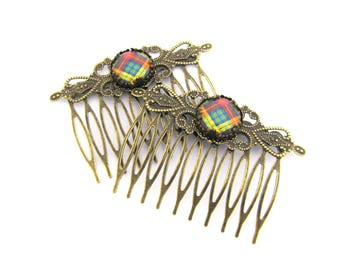 Scottish Tartan Jewelry - Ancient Romance Series - Scottish and Irish Tartans Collection - Buchanan Clan Tartan Hair Combs (Set of 2)